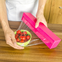 NEW Plastic Kitchen Foil And Cling Film Wrap Dispenser Cutter Storage Holder 3 Color ZH01074