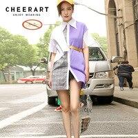Cheerart Purple Splice Plaid Shirts Women 2018 Summer Long Tops And Blouses Streetwear Fashion Women Shirts