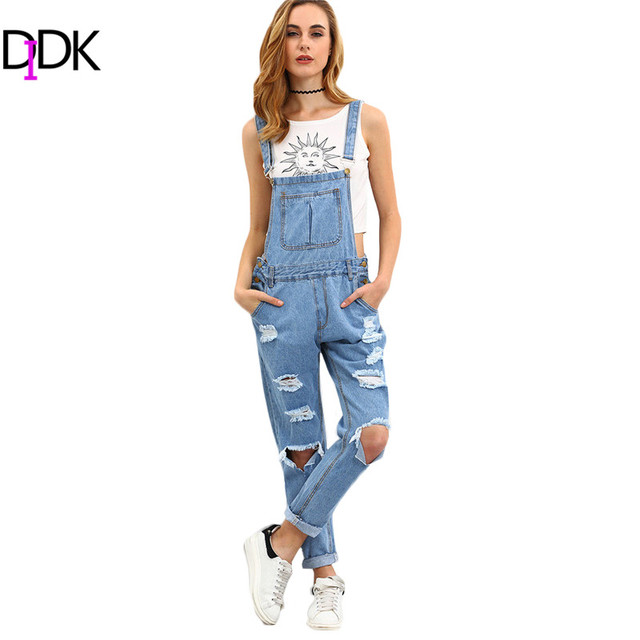 6e6aabeb97a6 DIDK Womens Summer Outfits Ladies Jumpsuits and Rompers Sleeveless Blue  Strap Ripped Denim Loose Overall Jumpsuit