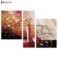 Hot Selling Diy Diamond Embroidery Potted Trees Multi Collages Diamond Painting For Living Room 3pcs Needlework