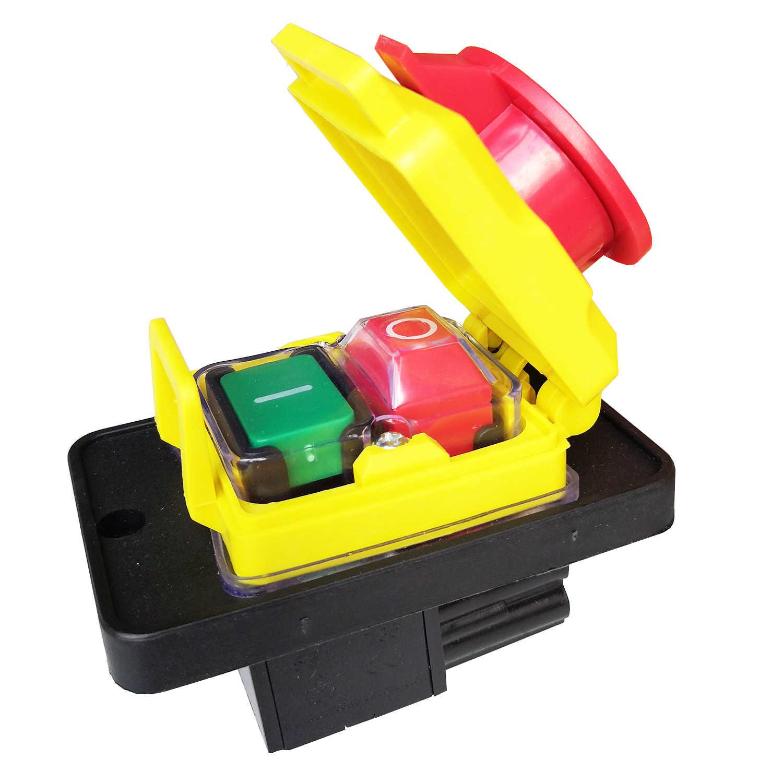 CK-5 250 V 10 A 4 Pins Wasserdichter Elektromagnetischer Druckknopfschalter Elektrowerkzeug Notausschalter f/ür industrielle Holz und Metallbearbeitungsmaschinen 8