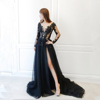 Super Sexy Black Tull Long Sleeve Scoop Neck Prom Dresses 2018 A Line High Slit Beading Appliques Floor Length Prom Dress