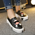 Cartoon Rivet Platform Shoes Women Flats Fashion Women Moccasins Loafers Comfort Autumn Shoes Woman Leather Ladies Shoes