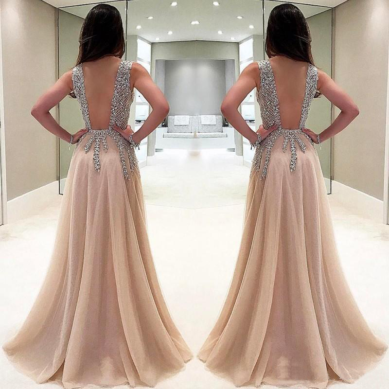 Image 2 - Beaded Long Prom Dresses 2019 Luxury Vestidos De Gala Sexy Backless V neck Tulle Party Formal Gowns Evening Party For Women-in Prom Dresses from Weddings & Events