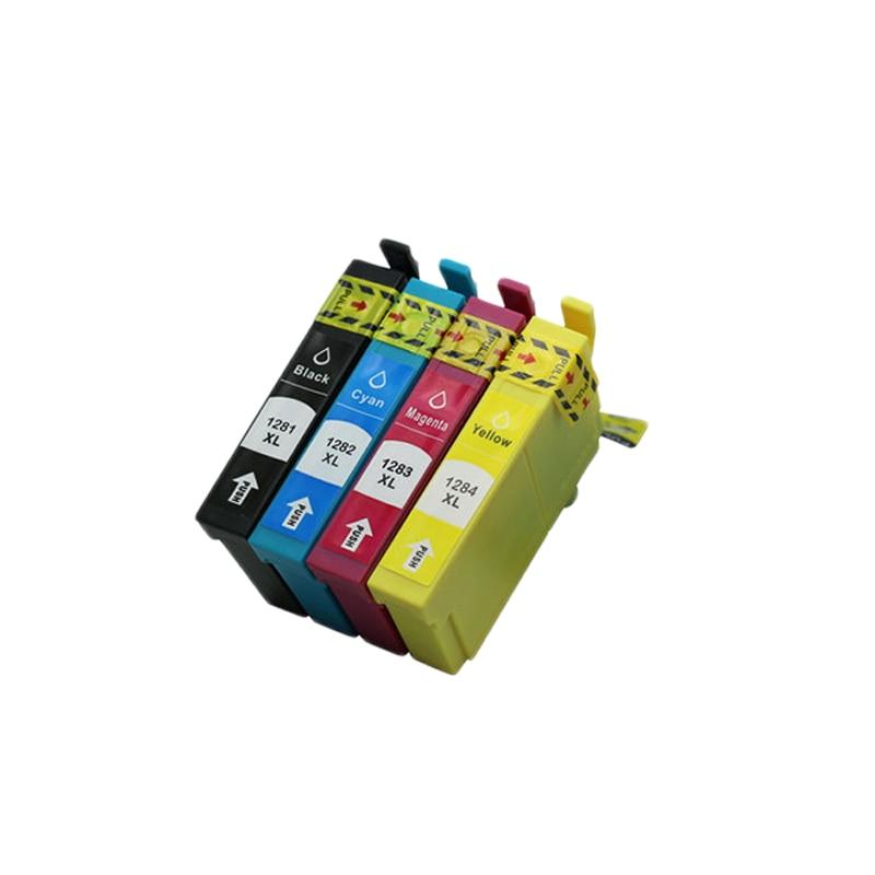 4pcs Cartridge Luocai for Epson T1281-1284 Stylus SX125 SX130 SX420W SX235W SX440W SX430W SX425W SX435W SX438 SX445W S22 Printer