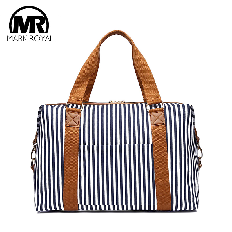 MARKROYAL 2019 New Arrival Canvas Blue Striped Large Capacity Travel Bags For Women Luggage Duffle Bags Casual Travel Bags