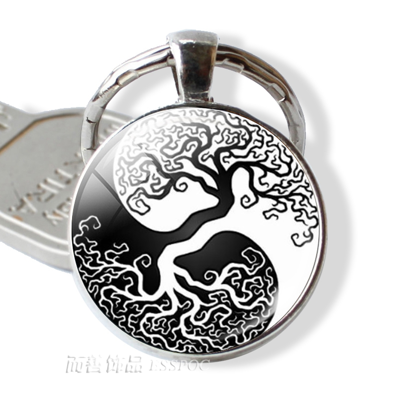 Fashion Yin Yang Pendant Tree Of Life Keychain Glass Dome Cabochon Jewelry Zen Symbol Key Chain Ring Holder Gift