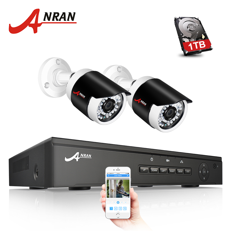 ANRAN P2P 1080P HD H.264 4CH POE NVR 36 IR Night Outdoor Waterproof FTP Security 2pcs IP Cameras Home CCTV POE System 1TB HDD