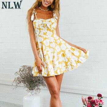 fd75648eae72074 NLW желтое платье с принтом с рюшами на бретельках платье 2019 женское с  открытой спиной Милое сексуальное сарафан плявечерние вечернее платье.