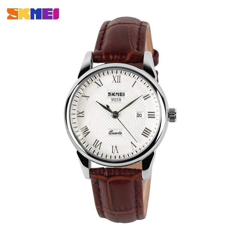 SKMEI Для мужчин женщи Кварцевые наручные часы модные Элитный бренд ремень из натуральной кожи Бизнес часы Авто Дата Relogios Masculino
