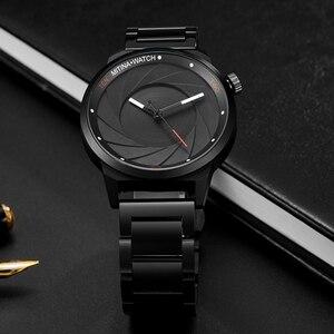 Image 4 - יוקרה מגניב גברים שחור פלדת שעון גברים אופנה למעלה מותג ספורט ייחודי עיצוב קוורץ יד שעונים זכר שעון Relogio Masculino