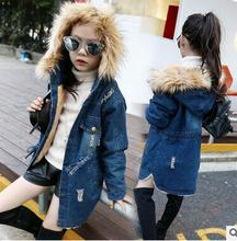 Children girls denim cotton 2016 new south Korean style baby winter thickening waist jeans children quilted jacket fashion coat