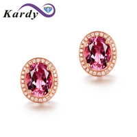 Best Gift Fashion Pink Tourmaline Gemstone 14K Diamond Bridal Engagement Party Fashion Stud Earrings Set