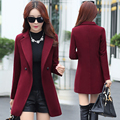 2019 Winter Spring Warm Coat Female Womens Long slim thicker woolen overcoat outerwear Turn-down Collar Double Breasted Coats
