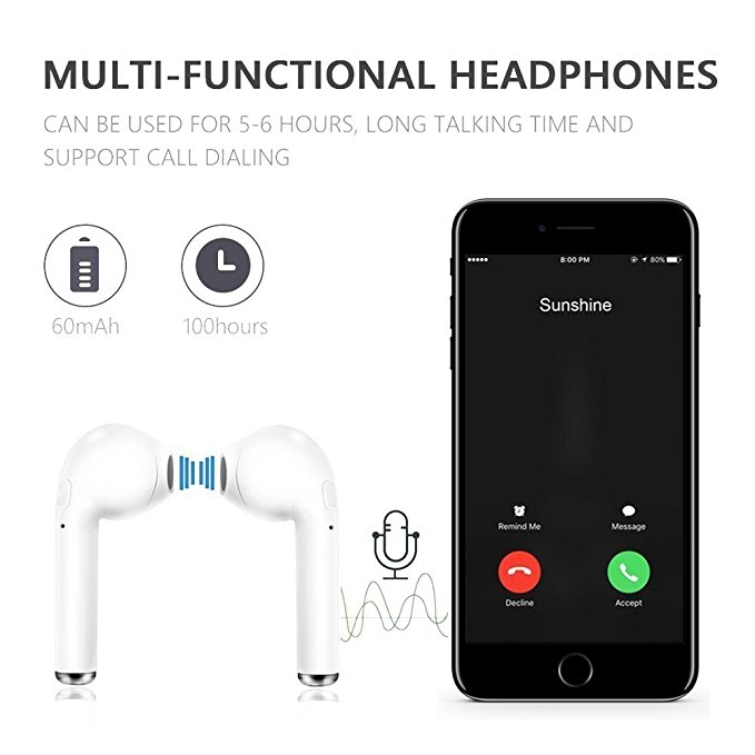 New i7 Mini Earphone Wireless Bluetooth Earpieces Sport Stereo Earbuds Headset With Mic For Smart phone pc long life earphone in Bluetooth Earphones Headphones from Consumer Electronics