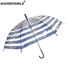 SHOWERSMILE Transparent Umbrella Rain Women Clear Automatic Blue White Striped Adult POE See Through Parapluie