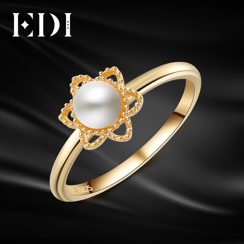 EDI Genuine 5mm Natural Freshwater Pearls 14k 585 Yellow Gold Engagement Ring For Women Wedding Bands Fine Jewelry edi genuine natural freshwater pearls 5mm 100