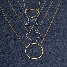 SHE WEIER stainless steel chain choker heart best friends pendant necklace women chocker neckless korean star clover round(China)