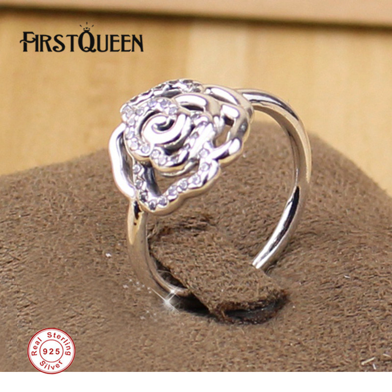 FirstQueen Solid 925 Silver Rose Ring with Clear Cz Engagement Ring bijoux femme Fine Jewellery Dropshipping