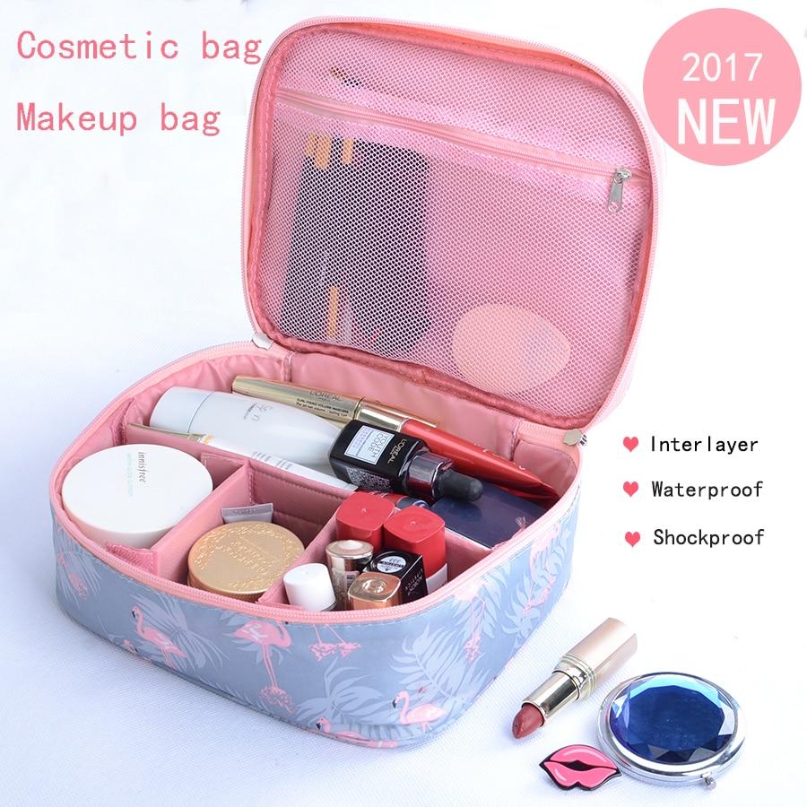 New Fashion printing Cosmetic bag Waterproof shockproof Travel hand washing bag Multi functional interlayer makeup bag