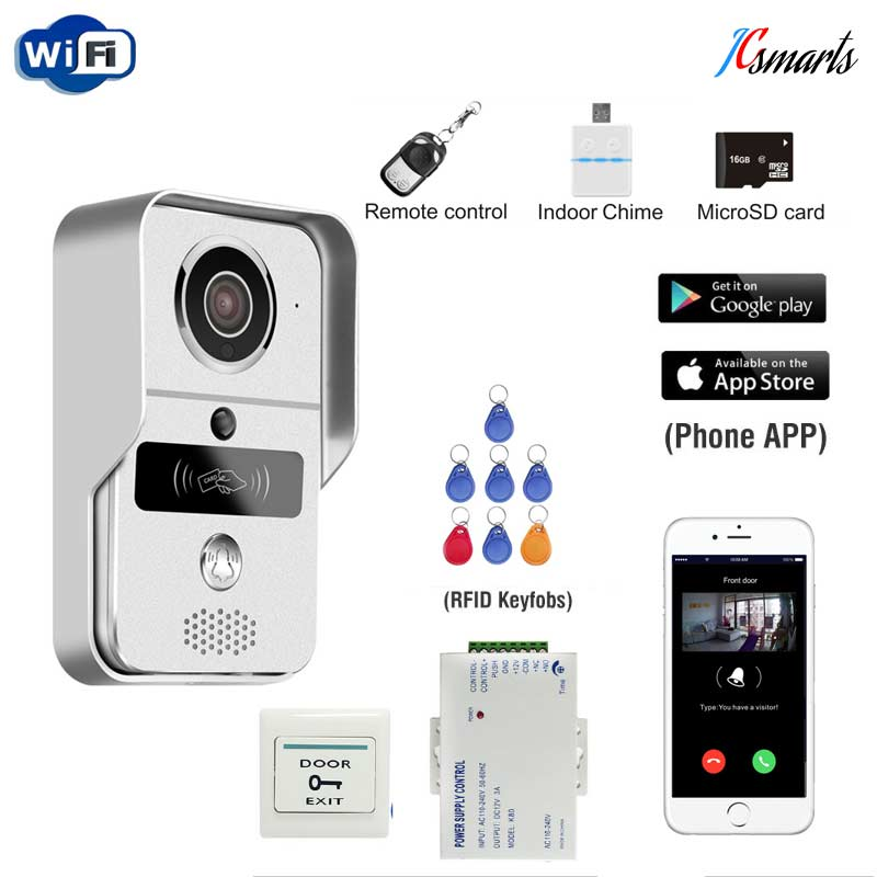 JCSMARTS RFID Access Wireless Wifi IP Doorbell Camera Video Intercom for Android IOS Smartphone Remote View Unlock With SD card jcsmarts rfid access wireless wifi ip doorbell camera video intercom for android ios smartphone remote view unlock with sd card