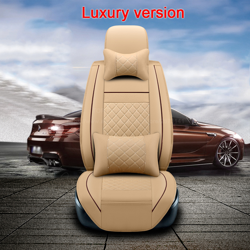 (2 front)High quality leather universal car seat cushion seat Covers for LADA granta niva largus vesta car-styling accessories ouzhi for lada granta largus priora kalina pu leather weave ventilate front