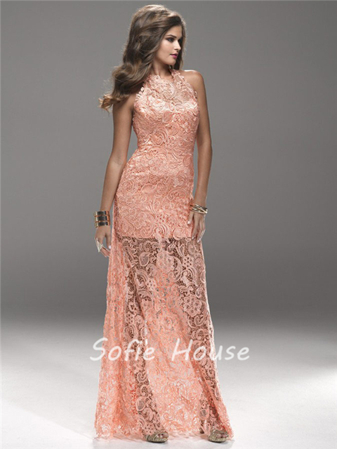 Newest long sheath high neck backless see through peach lace evening ...