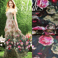 1 מטר Thin100 % דיגיטלי משי שיפון המודפס רוז פרח תות טבעי טהור חומר בד לתפור על נשים שמלת צעיף 6 M/M