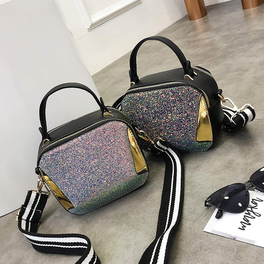 DUSUN Summer Small Handbags Fashion Rainbow Sequin Shoulder Bags Panelled Hand Bag For Women Striped Wide Shoulder Straps Phone
