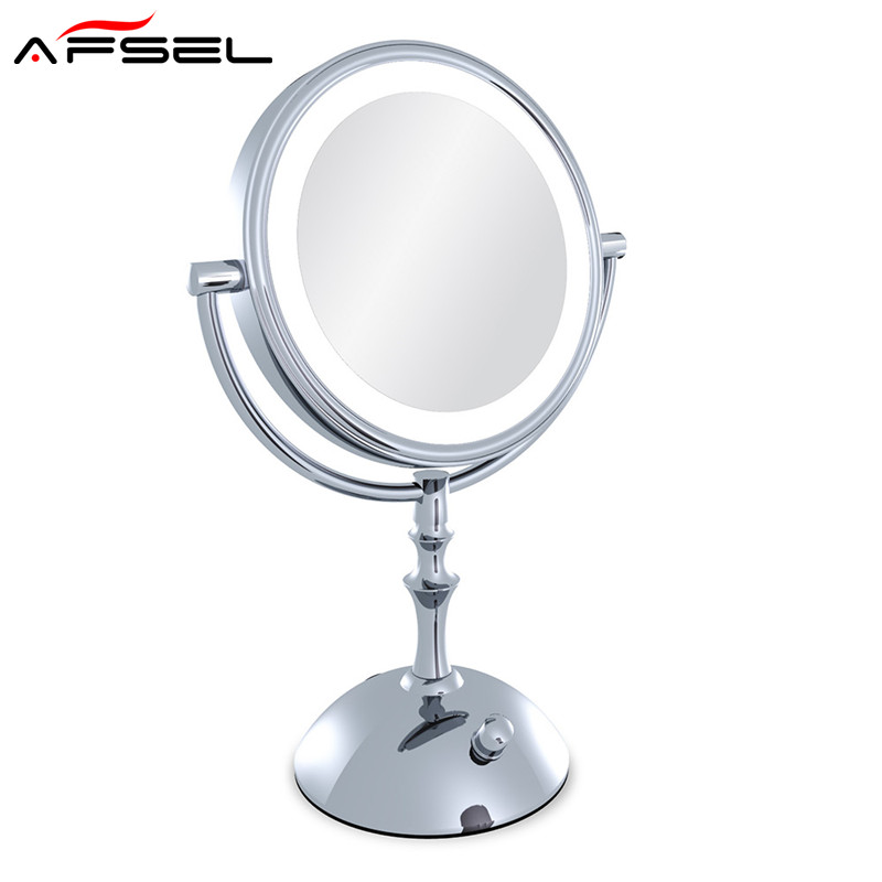 AFSEL Brand Makeup Mirror with Light 8 Inch led Compact Cosmetic Mirror Lady's 3X Double Sided Magnifying Espelho Bath Mirror large 8 inch fashion high definition desktop makeup mirror 2 face metal bathroom mirror 3x magnifying round pin 360 rotating