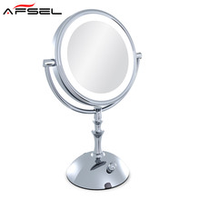 AFSEL Brand Makeup Mirror with Light 8 Inch led Compact Cosmetic Mirror Lady's 3X Double Sided Magnifying Espelho Bath Mirror
