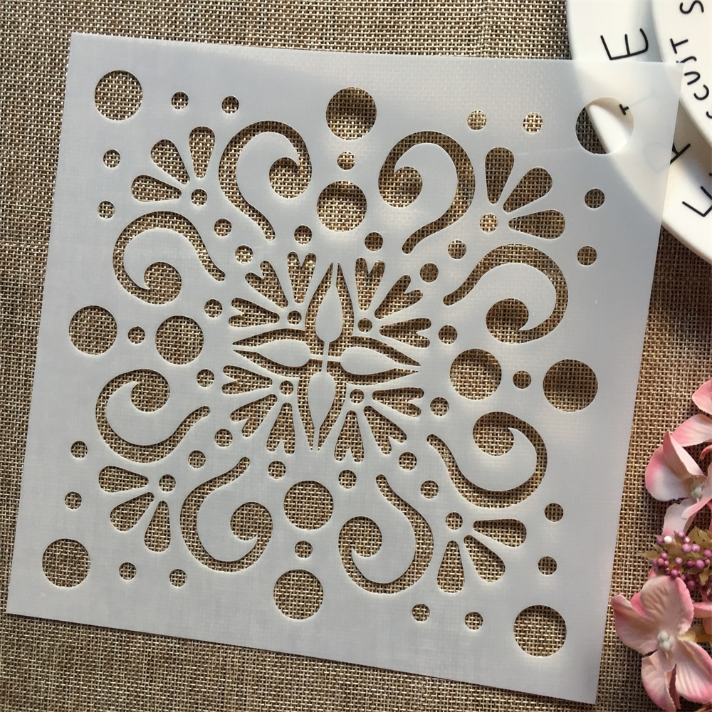 1Pcs 8*8inch Floral Round Dot Background DIY Layering Stencils Painting Scrapbook Coloring Embossing Album Decorative Template