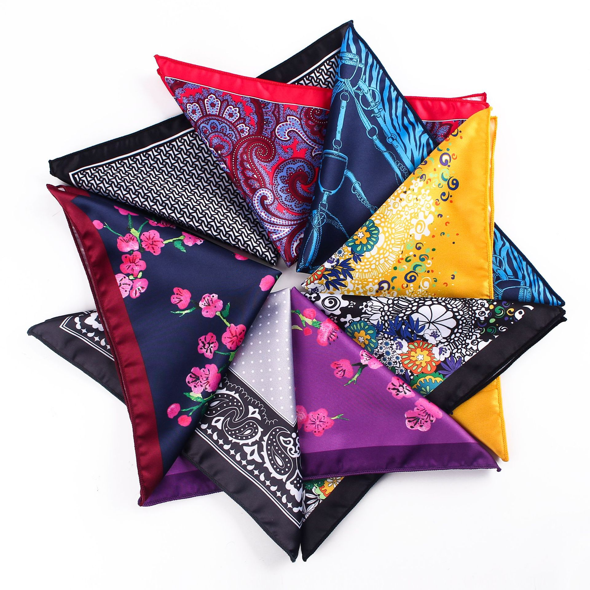 Luxury Mens Handkerchief Silk Accessories Hanky Pocket Squared Handkerchief Pocket Scarf Paisley Polka Dots Party Wedding Prom