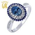 GemStoneKing 1.55 Кт Овальной Сапфир Синий Мистик Топаз 925 Стерлингового Серебра Vintage Кольца Для Женщин