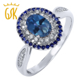 GemStoneKing 1.55 Ct Oval Sapphire Blue Mystic Topaz 925 Sterling Silver Vintage Rings For Women