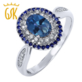 Gemstoneking 1.55 ct safira oval azul místico topaz 925 prata esterlina anéis para as mulheres do vintage