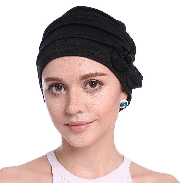 Haimeikang Newest Hair Accessories Muslim Elastic Turban Cap Autumn Winter Cotton Flower Kerchief Headband Hat Hair Ornament