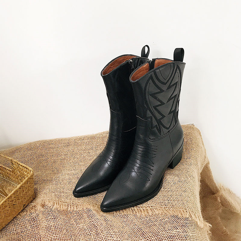 Retro Style Sewing Knight Boots Chunky Heel Pointed Toe Black Geniune Leather Side Zip Winter Mid Calf Boots Women