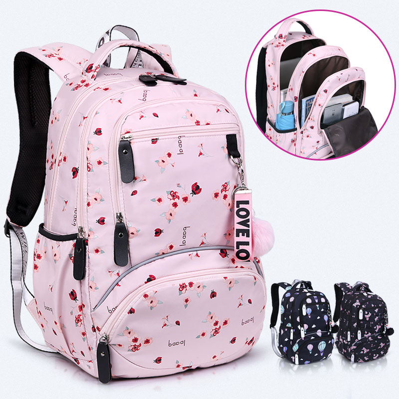 New Large Schoolbag Cute Student School Backpack Printed Waterproof Bagpack Primary School Book Bags For Teenage Girls Kids(China)