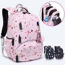 Большой школьный Симпатичные школьные рюкзак с принтом Водонепроницаемый bagpack Начальная школа книга сумки для девочек-подростков, детская