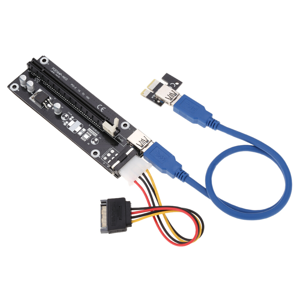 все цены на  1 pcs USB 3.0 PCI-E Riser PCI E Express 1X to 16X Extender Card Board Adapter Cable SATA 15Pin-6Pin Power for bitcoin mining  онлайн