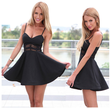 The new 2016V collar Slim sexy waist lace stitching suspenders big swing skirt S-XL Black