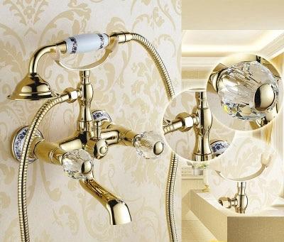 Luxury Crystal Handwheel Gold Bathroom Bathtub Shower Faucet Set Diverter Spray Mixer Tap Wall Mounted Brass Valve Accessories