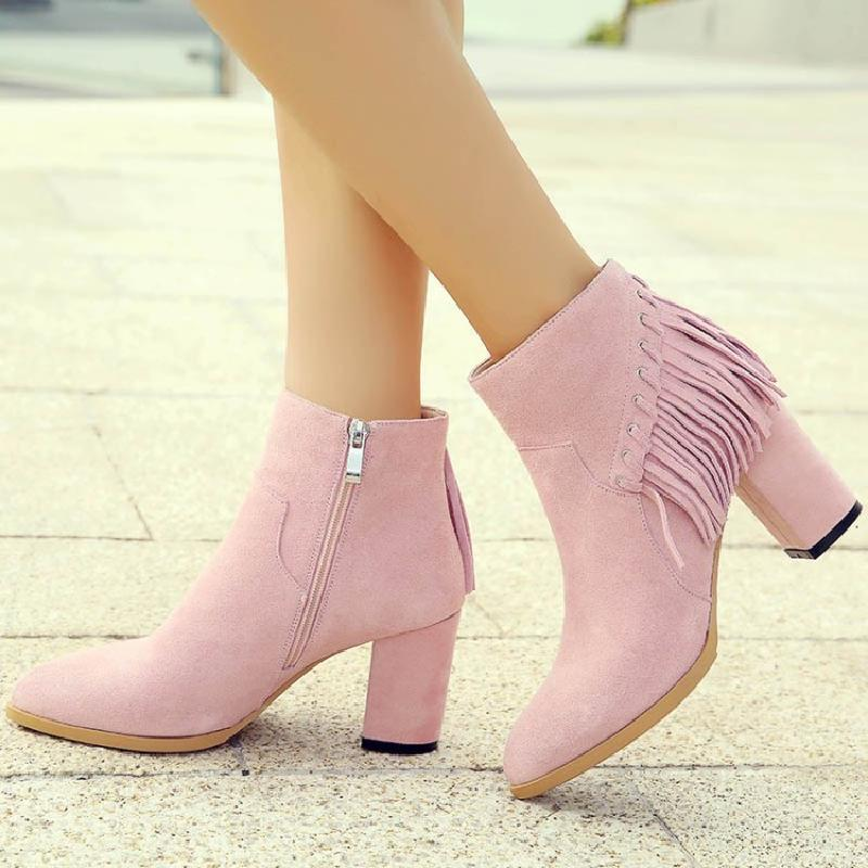 winter boots women ankle boots for women pink genuine leather boots autumn female fashion fringe shoes woman free shipping &C188 free shipping women fashion winter shoes genuine leather ankle boots wedges female winter working boots plus size 34 41