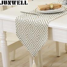 Junwell moda moderna mesa Runner Nylon Vintage tapete Jacquard de tela de mesa con borlas calado de corredor de la tabla de