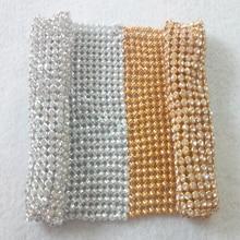 YY DIY Promotion! 10x10cm Gold Silver Full Rhinestone Bling Metal Mesh Fabric Metallic cloth Sequin Sequined