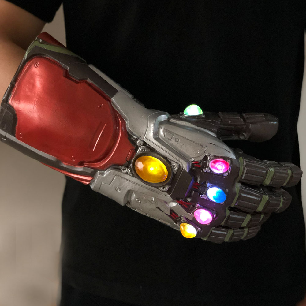 Led Light Iron Man Infinity Gauntlet Avengers Endgame Cosplay Arm Thanos Gauntlet Latex Gloves Arms Superhero Weapon Props New5