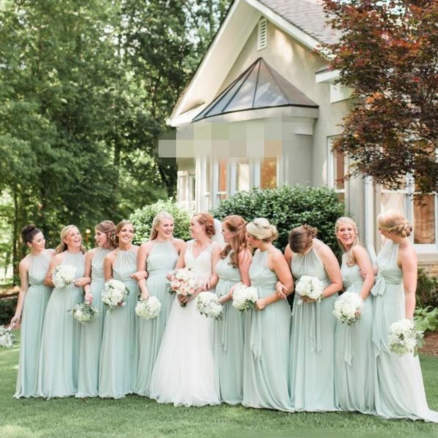 2017 elegant plus size sage green chiffon long bridesmaid for Boho country wedding dress