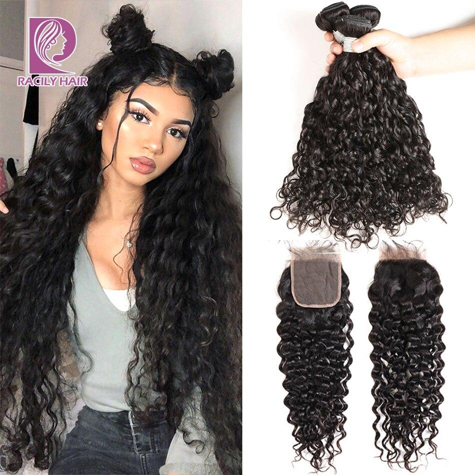 Racily Hair Brazilian Hair Weave Bundles With Closure Water Wave Bundles With Closure Remy Human Hair