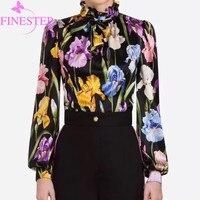 Высокое качество Женская шелковая блузка 2019 Мода Цветочный Рисунок Шифоновая блузка женская осень Офисные женские туфли круглым вырезом С